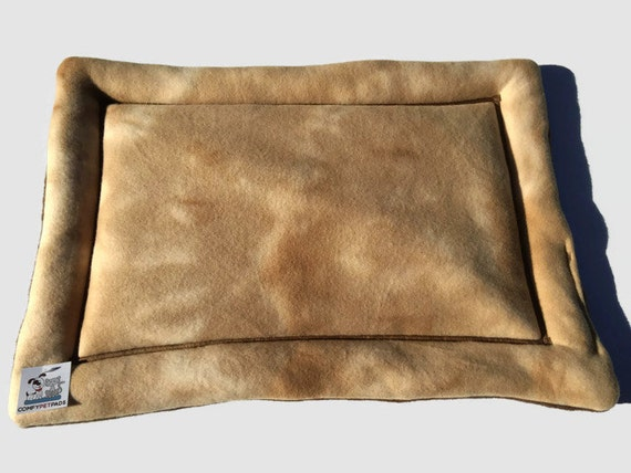Tan Dog Bed in a Tie Die Khaki fleece print.  Use as a Carrier Pad, Cat Mat, Small Pet Pad, Window Pad for Cat, Fleece Dog Bed, Kennel Cover