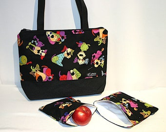 Lunch bag insulated and waterproof, dogs pattern, lunch box, school lunch tote
