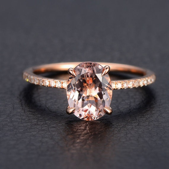 Limited Time Sale 1 25 carat Morganite and Diamond Engagement
