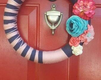 Denim & Rose Yarn Wrapped Wreath