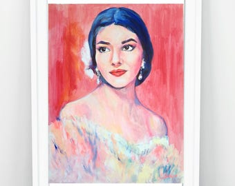 Maria Callas Original Acrylic Painting, Fine Art Painting, Modern Painting, Contemporary Portraiture, Original Artwork, Great Opera Singer