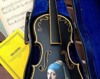 Upcycled violin; 'Girl with a pearl earring '