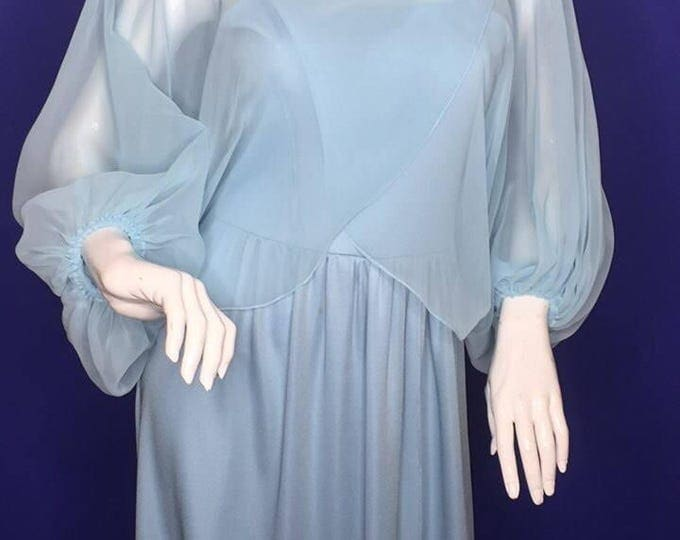 Vintage Estate Powder Blue Chiffon Flowy Hostess Maxi Dress
