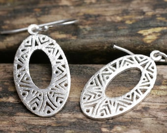 Sterling Silver Openwork Earrings, Silver Oval Earrings, Dangle Earrings, UK Handmade