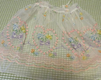 Vintage Sheer Apron Roses and Back Tie Sash