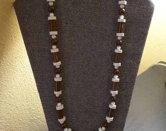 Retro Funky Brown and White Tube Bead Necklace