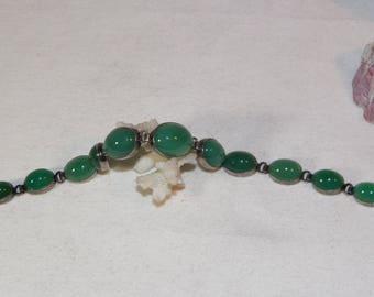 vintage sterling silver green agate bracelet, 925, green stone, unique bracelet