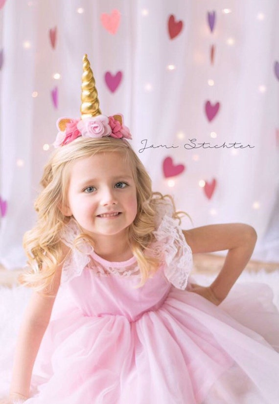 Gold and Pink Unicorn Headband Princess Headband Birthday