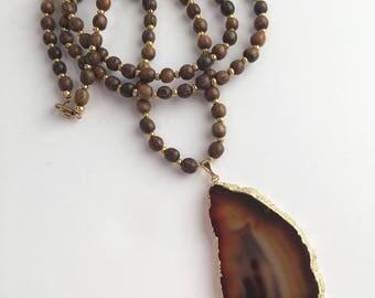 Brown Agate Pendant Necklace, Long Pendant Necklace, Long Wood Bead Necklace, Pendant Necklace, Boho Necklace