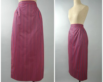 Claudette | Vintage 80s Striped Midi Pencil Skirt | 1980s Wiggle Skirt
