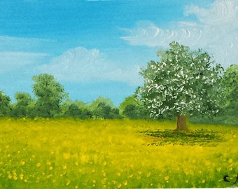 """Original ACEO landscape oil painting  SPRING TREE  2.5 x 3.5"""""""