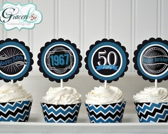 50th Birthday Cupcake Toppers, 50th Birthday Decoration, 50th Birthday Party, 50th Birthday Party Favors, Surprise Birthday Party