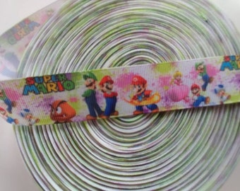Super Mario bros 1 inch grosgrain ribbon for 2 yards