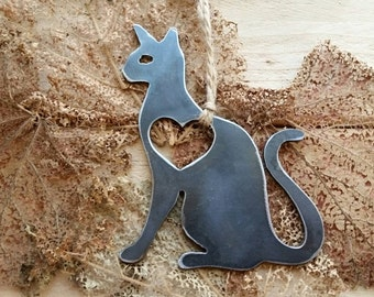 Cat Love Rustic Metal Recycled Steel Heart Christmas Tree Ornament Holiday Gift Industrial Decor Wedding Favor By BE Creations