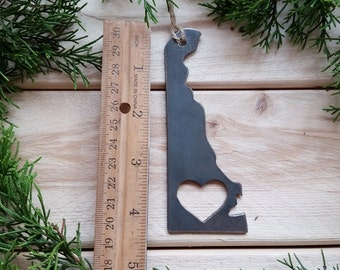 Love Deleware State Steel Ornament Rustic DE Metal State Heart Host Gift Keepsake Travel Wedding Favor By BE Creations