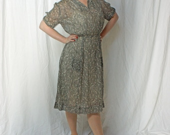 CLEARANCE 1930s Black and White Day Dress