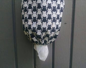 Cat Grocery Bag Holder, Plastic Bag Dispenser, Black And White