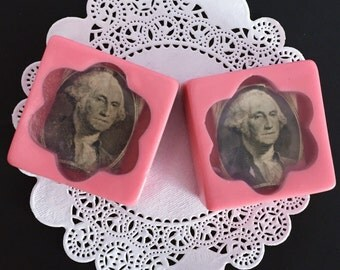 2 money Soaps - homemade glycerin soap - square guest soap - Unique gift - Christmas stocking stuffer - wedding favor soap - party favors
