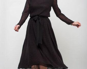 Midi Black dress turtleneck office dress Long sleeve crochet black dress formal lacy dress mohair prom dress roll-neck evening prom dress