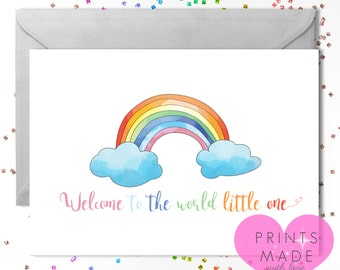 Rainbow baby card  / new baby / baby boy / baby girl / Welcome to the world little one / A5