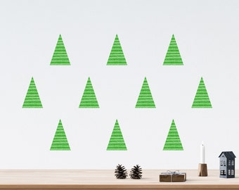 Modern Christmas Tree Wall Decals set of 10 Scandinavian Minimalist Christmas Decor Green 4 inches Triangle Wall Stickers Decorations