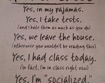 Homeschool Answer Sheet - Gildan 100% Cotton T-Shirt