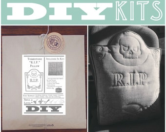 DIY Sewing Kit: Quilted RIP Tombstone Pillow // Halloween DIY kit Creepy Pillow // diy quilt kit Headstone Pillow // Skull Sewing Kit