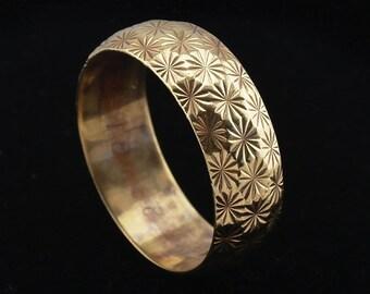 Vintage Gold Wedding Band Ring 9 carat Wide yellow gold size US 9.5, UK S 1/2 Fully Hallmarked Wedding Ring j670