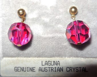 Austrian Crystal Earrings Pink Studs Vintage Jewelry Retro Women's Fashion Accessories Casual Style