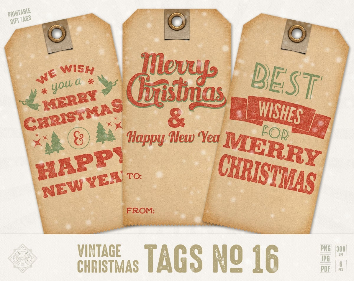 Christmas Tags: Digital Christmas Gift Tags X-Mas Hang Tags Christmas