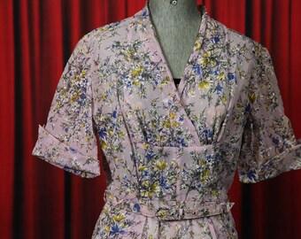 Vintage 1950's pink-lilac floral dress