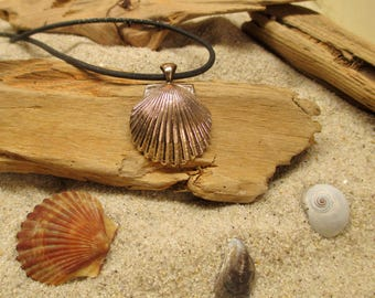 Bronze Scallop Shell and Dichroic Glass Pendant