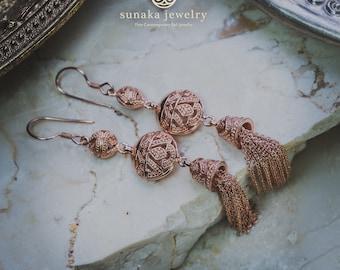Songket Bali Rose Gold Earrings / Balinese Drop Chain Earrings / Songket Bali Ornamentation / 925 Sterling Silver / Rose Gold Plated