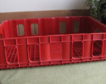 Vintage Coke Red Plastic Crate 1970s Coca Cola Enterprises Industrial Salvage