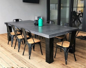Polished Concrete 8 To 10 Seater Dining Table With 4 Powder Coated Black  Legs, Patio