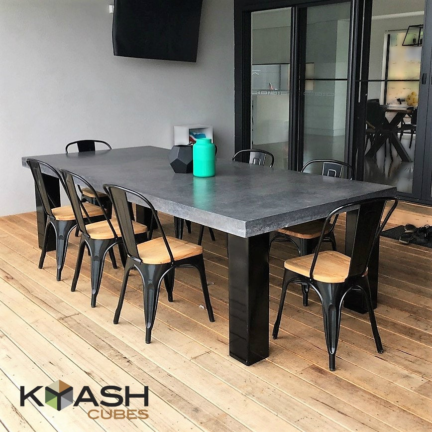 Polished Concrete 8 To 10 Seater Dining Table With 4 Powder