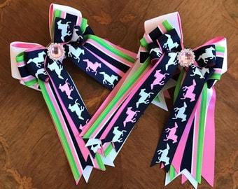 Equestrian Hair Bows/Pony Kid Pink Sparkle Gem/