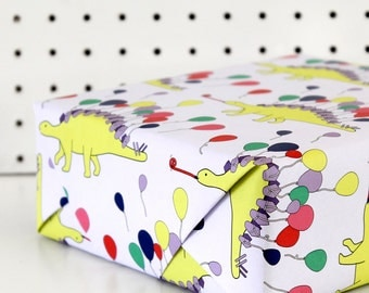 Dinosaur wrapping paper, party animal, stegosaurus, gift wrap, wrapping paper, kids birthday, kids wrapping paper, funny wrapping paper