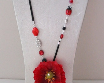 Costume jewelry necklace long necklace beads red and black and poppy flower