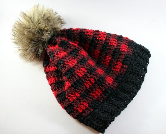 fur pom pom hat red and black plaid lumberjack by sheepyshoes. Black Bedroom Furniture Sets. Home Design Ideas