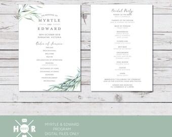 Printable - The 'Myrtle & Edward' Australian Floral Eucalyptus | Program | Wedding Ceremony | Rustic | Event