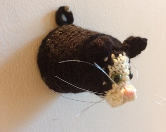 Itty Bitty Kitty: Crochet Faux Taxidermy Cat Head wall mount