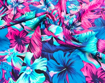 Tahitian Floral Swim Nylon Spandex Fabric, UPF 50+, Swimwear Fabric Athletic Fabric, Legging Fabric, BTY By The Yard