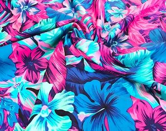 Tahitian Floral Swim Nylon Spandex Fabric, UPF 50+, Swimwear Fabric Athletic Fabric, Legging Fabric, BTY By The Yard