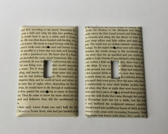 Book Page Switch Plate Covers Set of 2