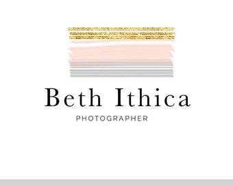 Beth Ithica, LOGO, Gold, Pink, Grey, Delicate, Glitter, Glitz, Modern, Pre-made logo, premade, Design, Photographer, Blog Header, Watermark