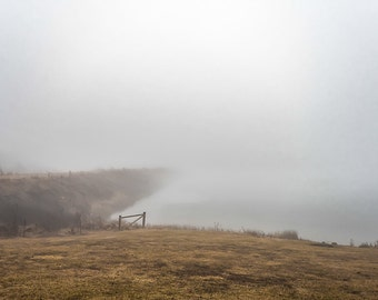Foggy morning over the dam.   Fine Art Photography by Pitts Photography