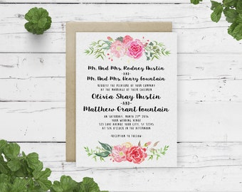 Digital file for simple floral wedding invitation