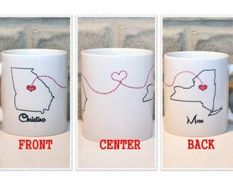 Best Friends Coffee Mug | Long Distance State Mug | Custom Mug | Christmas Gift for BFF | Gift for Sisters | Gift for Mom | Personalized Mug