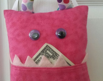 Tooth Fairy Monster Pillow- pink/polka dot